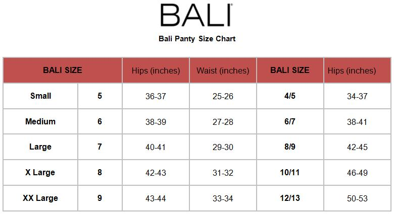 panty size chart with pictures: Bali 803j microfiber seamless brief panty