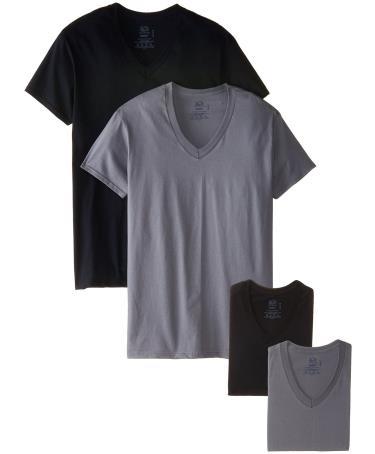 Fruit Of The Loom Men S 4 Pack Black Grey V Neck T Shirt