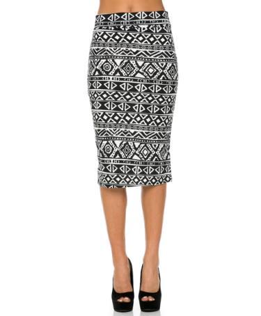 black and white geometric printed below knee pencil skirt