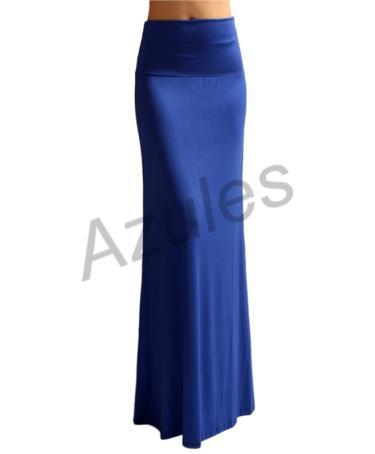 s floor length solid color royal blue maxi skirt