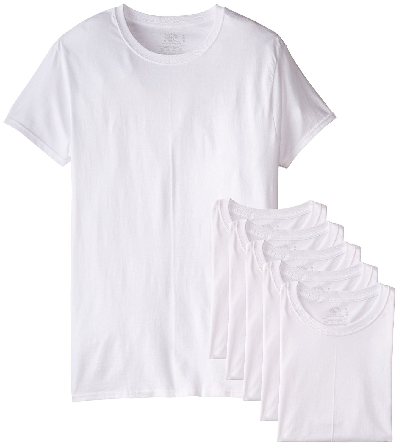 fruit of the loom men s 6 pack white crew t shirt. Black Bedroom Furniture Sets. Home Design Ideas