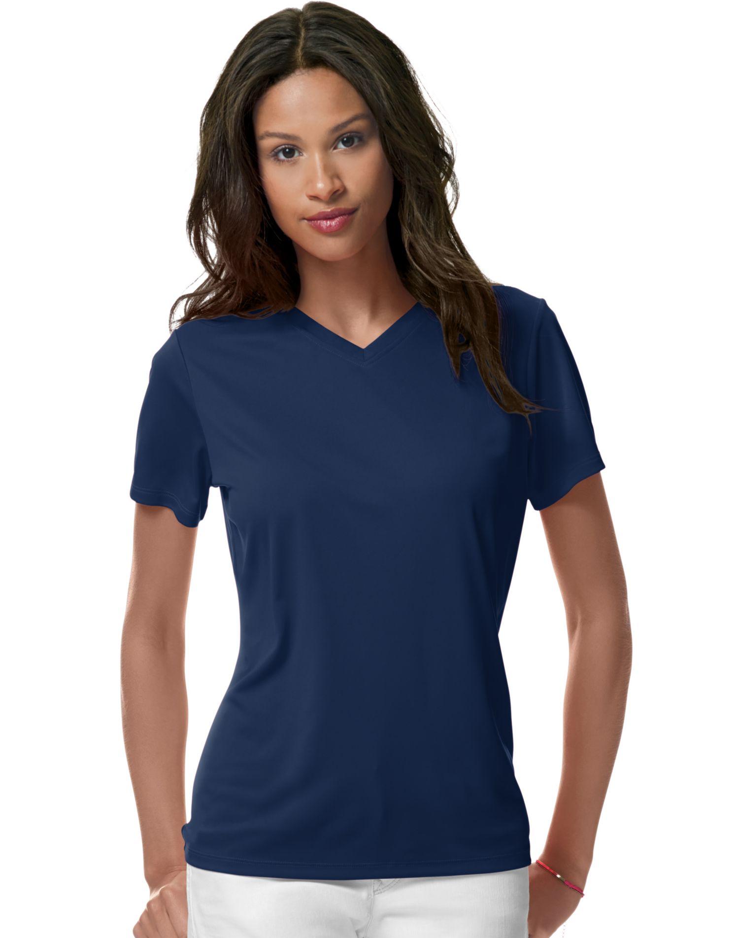 Hanes women s cool dri v neck t shirt for Womens v neck t shirts