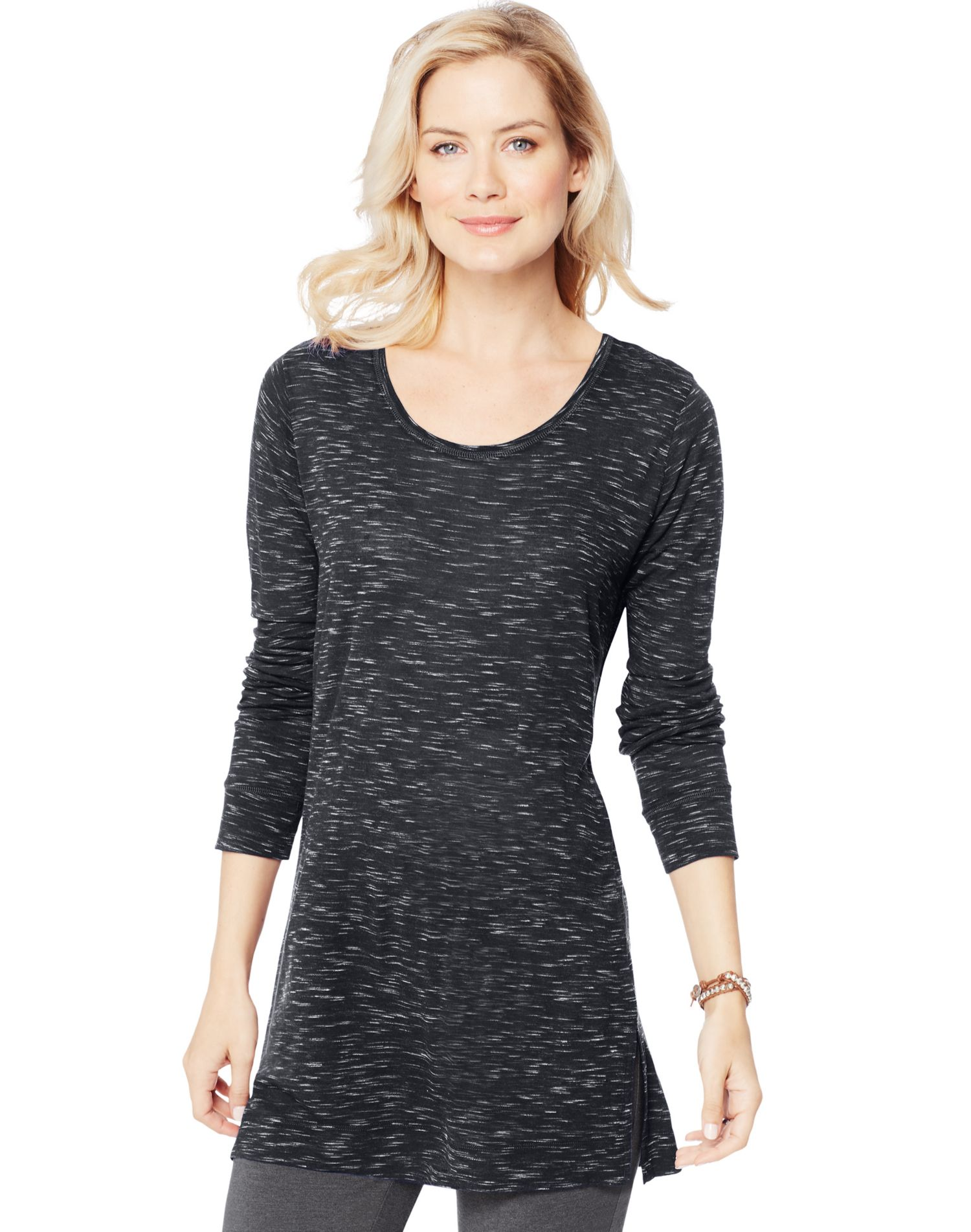 Hanes women s essentials lightweight space dye vented tunic for Lightweight long sleeve shirts women s