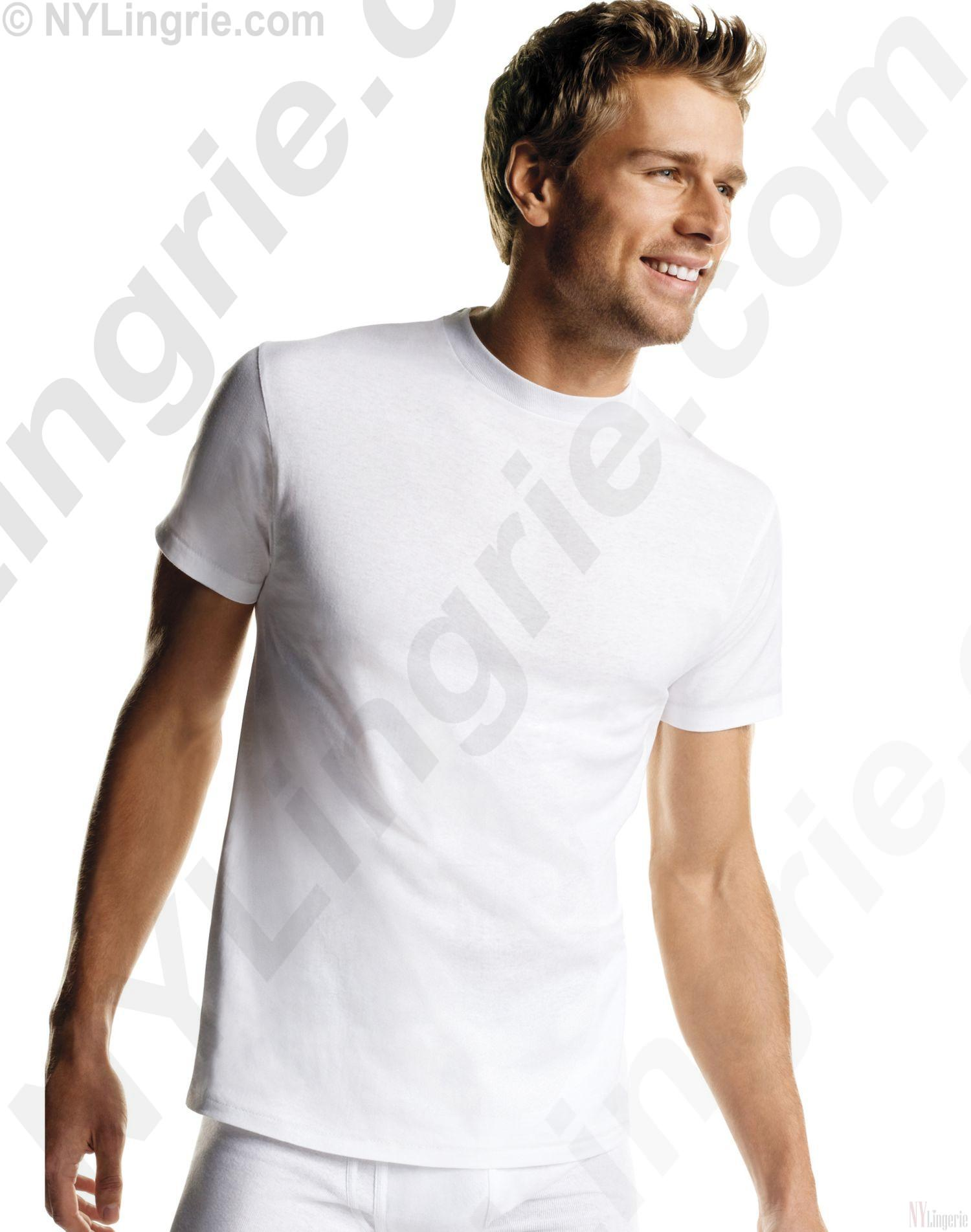 Hanes Men's White TAGLESS® Crewneck Undershirt 6-