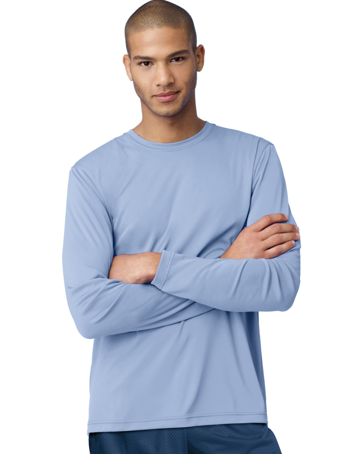 Hanes 482l men s 4 oz cool dri long sleeve performance t for Cool long sleeve t shirts for men