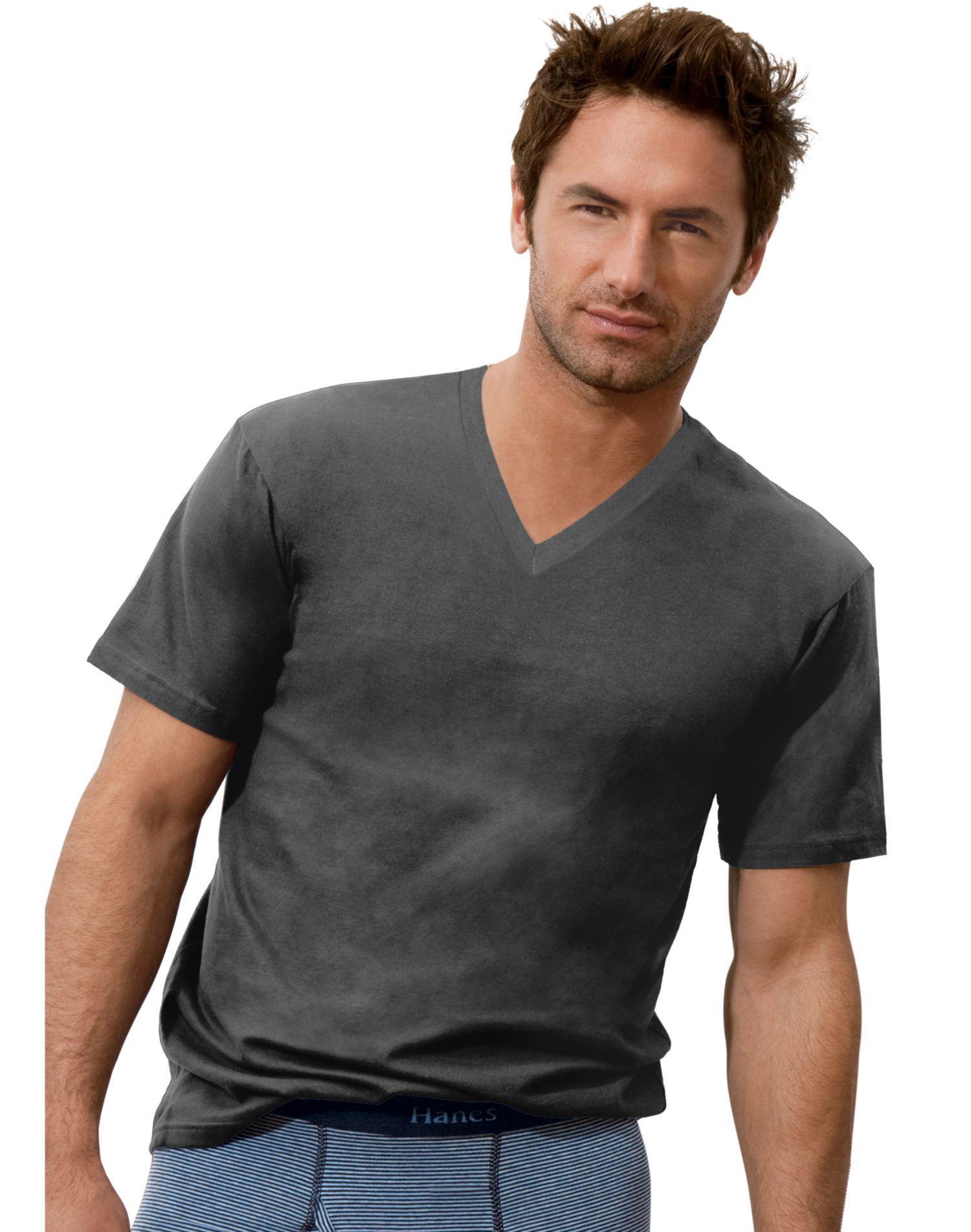 Hanes classics men 39 s comfort cool tagless v neck t shirt for Hanes comfortsoft tagless t shirt review