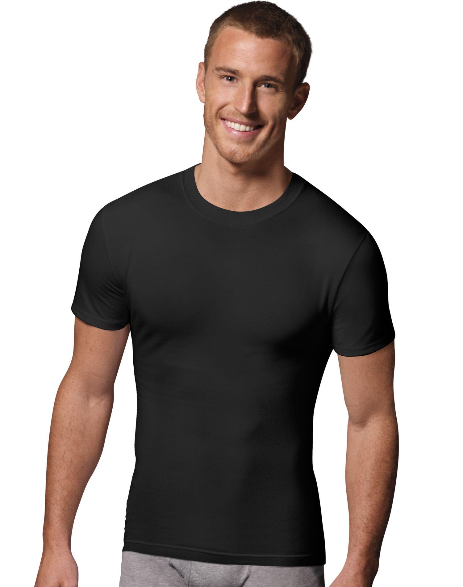 Hanes classics power slim fit white crewneck undershirt 2 pack for Slim fit white t shirt
