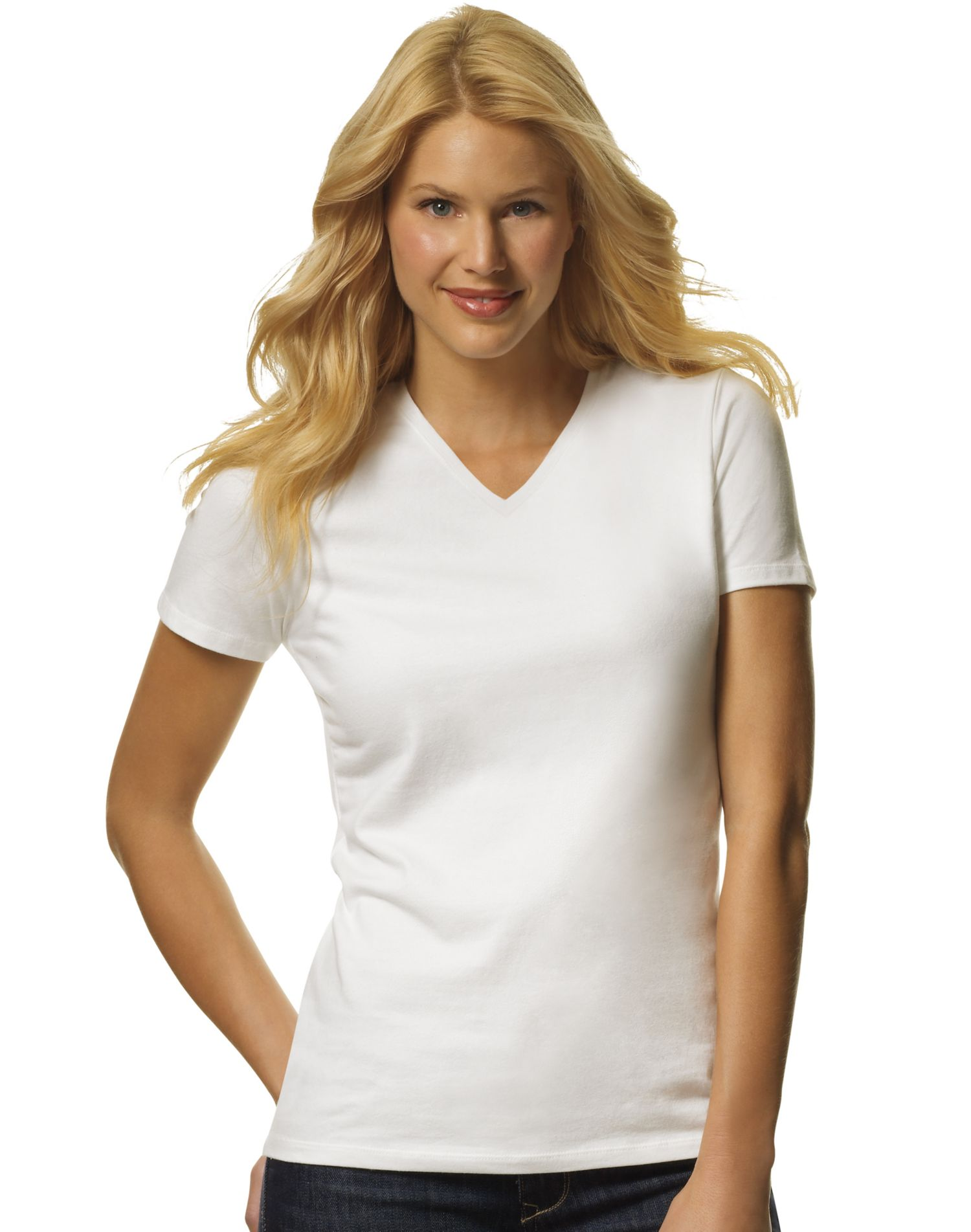 Hanes Women 39 S Tagless Jersey V Neck Tees Assorted 2 Pack