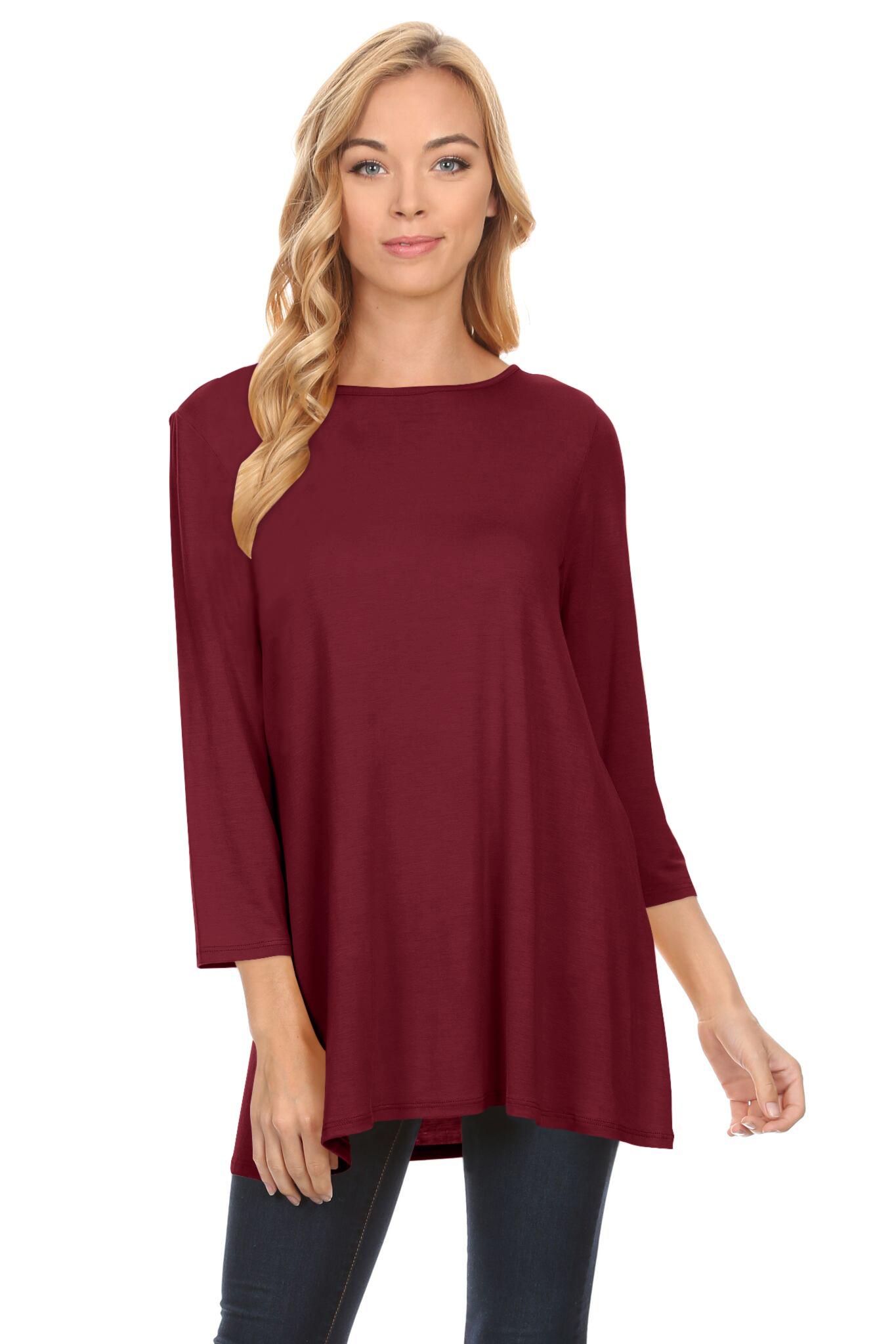 Womens Basic 3/4 Sleeve Long A-Line Top Swing Tank Top Tunic Dress ...