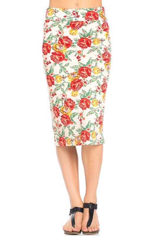 Floral Below Knee Pencil Skirt