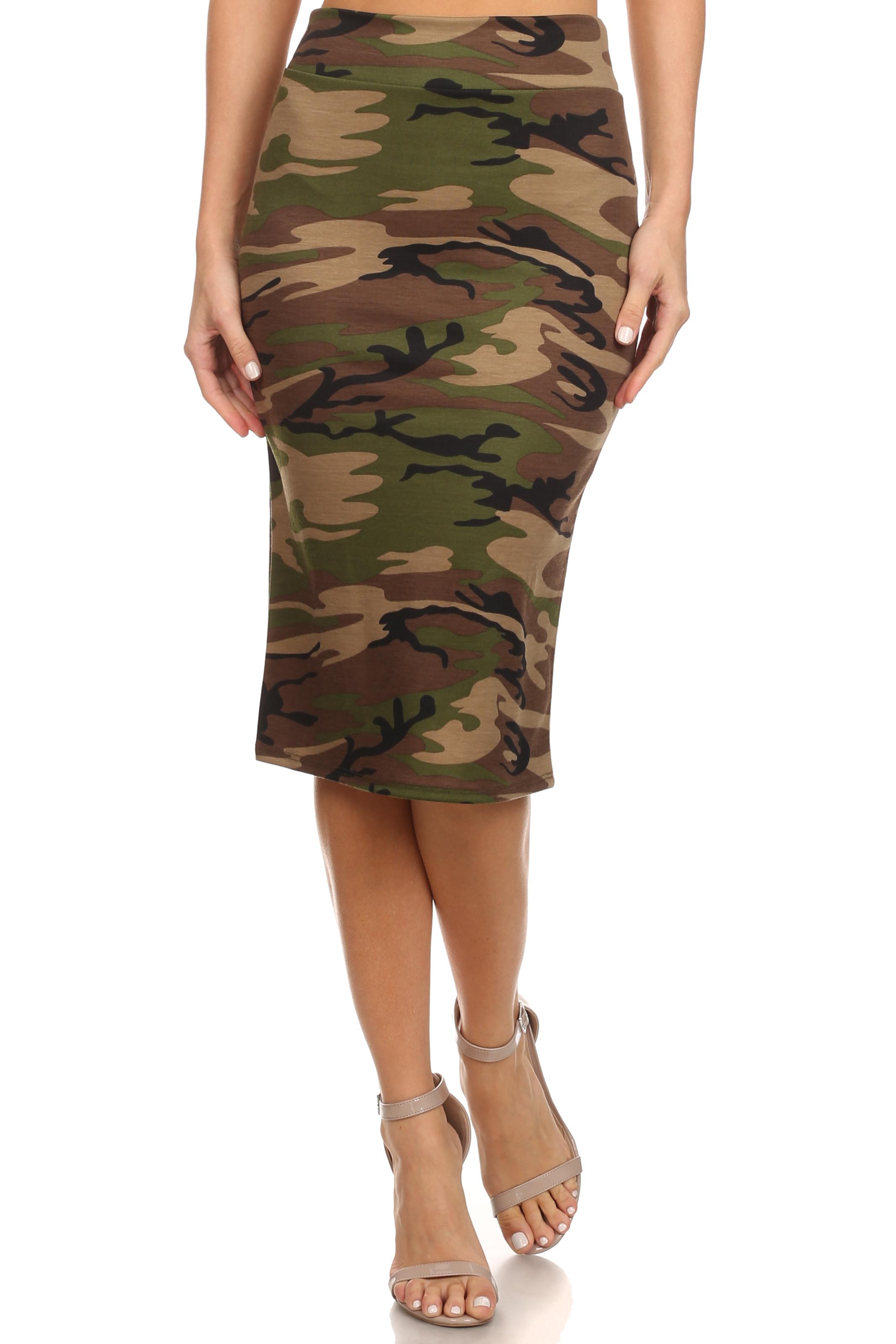 Army Print Below Knee Pencil Skirt