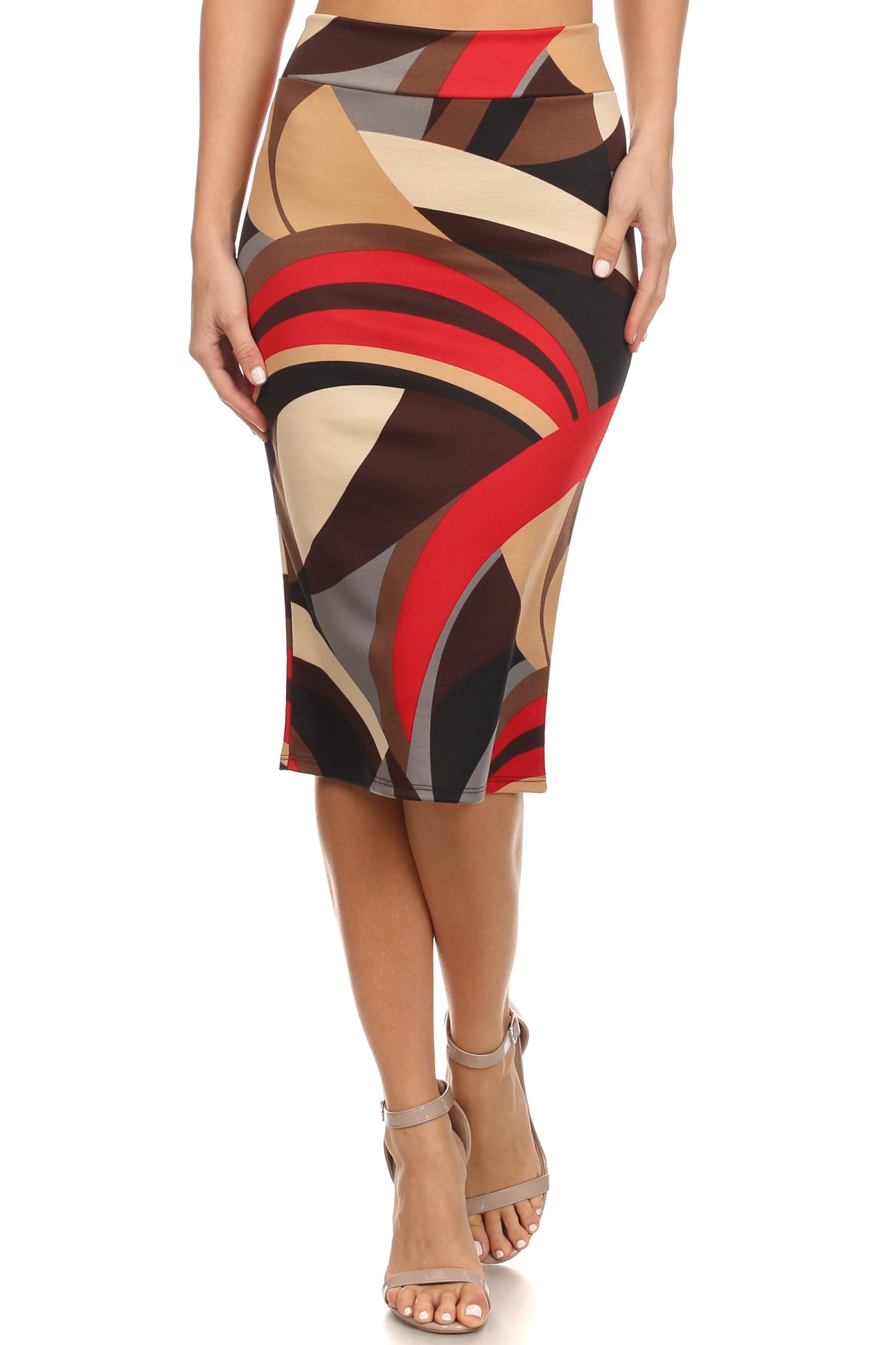 printed swirls below knee pencil skirt