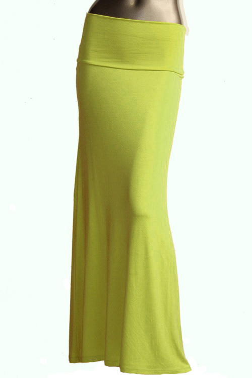 s floor length solid color lime green maxi skirt