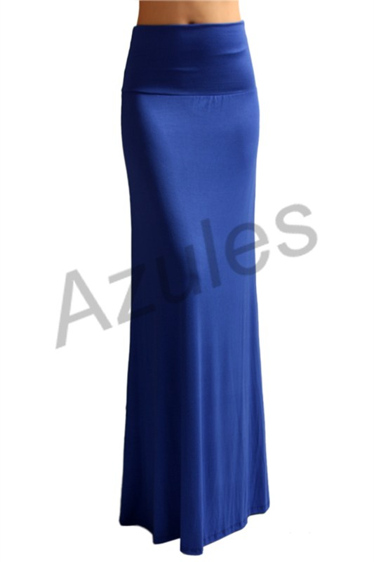 s floor length solid color royal blue maxi skirt