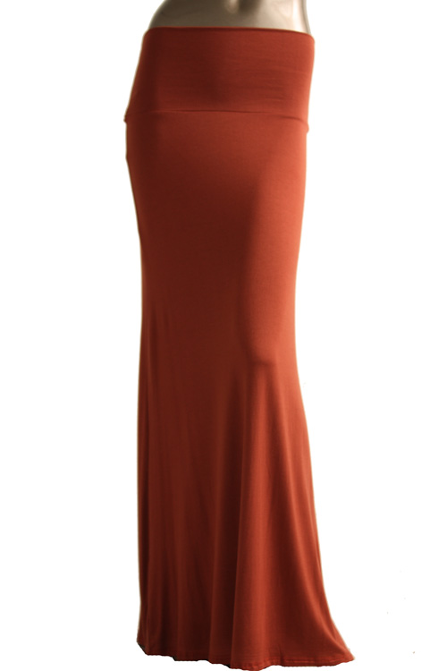 s floor length solid color rust maxi skirt
