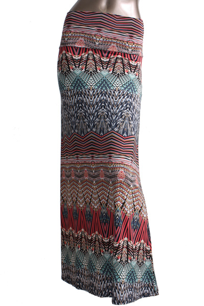 s floor length corel grey chevron print maxi skirt